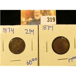 1879 AND 1874 INDIAN HEAD PENNIES.  THESE ARE BOTH BETTER DATE INDIAN HEAD PENNIES.  THE 1874 HAS FU