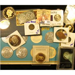 MIXED BAG INCLUDES JOHN F KENNEDY MEDAL, 6 LONG JOGN SILVER PIRATE MEDALSTEDDY ROOSEVELT MEDAL, REPL