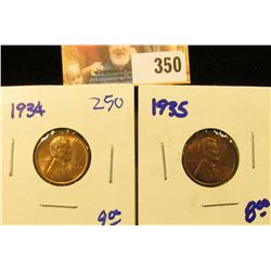 1934 AND 1935 RED WHEAT PENNIES