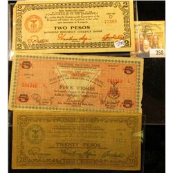 THREE PHILLIPINES EMERGENCY NOTES.  THESE WERE PRINTED DURING THE JAPANESE OCCUPATION OF THE PHILLIP