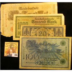 GERMAN NOTE COLLECTION INCLUDES 1915 TWENTY MARKS, 1922 1000 MARKS, 1908 100 MARKS, AND 1910 ONE THO