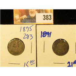 1891 AND 1875 SEATED DIMES