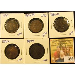 CANADIAN PENNY LOT DATED 1881-H, 1859, 1876-H, 1899, AND 1884