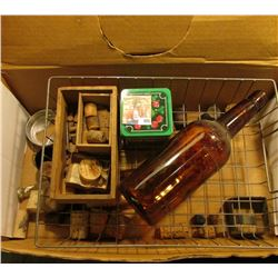 "17 5/8"" Glass Pharmaceutical Rod; Amber Whiskey Bottle which states ""Federal Prohibits…"" 11""; (3) Pr"