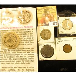 Ottumwa Coin Club Wooden Nickel with literature; 1960 France One Franc; 1976 Mexico Five Centavos; 1