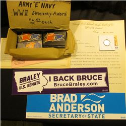 "Pair of Bumper Stickers ""Brad Anderson Secretary of State"" & ""Braley for U.S. Senate…""; ""Royal Flash"