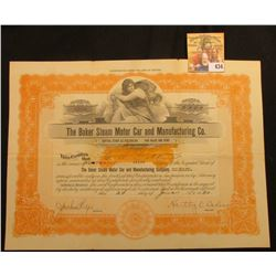 "June 24, 1920 2000 Shares Stock Certificate ""The Baker Steam Motor Car and Manufacturing Co."" with c"