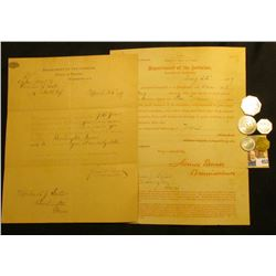 """March 25th, 1889 & August 22, 1889 """"Department of the Interior, Bureau of Pensions,"""" letters signed"""