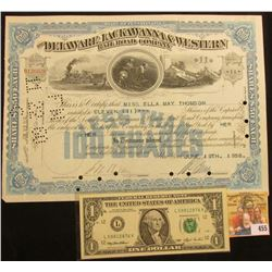 "June 19th, 1936 11 Shares Stock Certificate ""The Delaware, Lackawanna & Western Railroad Company Sta"