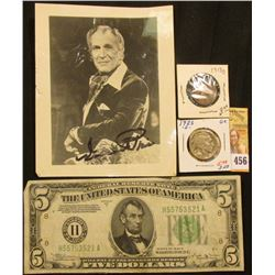 "Autographed 4"" x 5"" Picture of Vincent Price, some damage; Series 1934 B Five Dollar Federal Reserve"