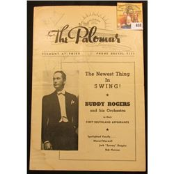 "The Palomar Veront at Third Program for ""The Newest Thing In Swing! Buddy Rogers and His Orchestra i"