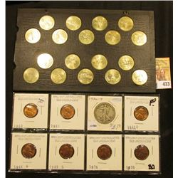 (7) BU Memorial Cents dating 1960-73; Wayte Raymond Album page full of Old Statehood Quarters; & 193