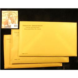 1962, 63, & 64 U.S. Proof Sets in original unopened envelopes as issued.