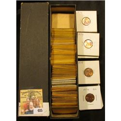 """9"""" x 2"""" x 2"""" Coin Stock Box full of High grade Lincoln Cents dating 1969-74."""
