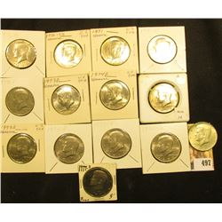 1967 P, 71 P, D, 72 P, D, 73 P, D, 74 P, D, 76 P, D, 77 P, D, & S Kennedy Half Dollars, all either B