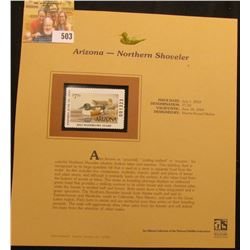 2003 Arizona Waterfowl $7.50 Stamp, mint, unused with original literature mounted in a plastic page.