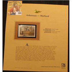 2003 Arkansas Waterfowl $7.00 Stamp, mint, unused with original literature mounted in a plastic page