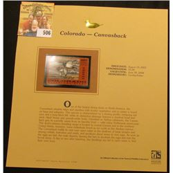 2003 Colorado Waterfowl $5.00 Stamp, mint, unused with original literature mounted in a plastic page