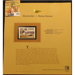 2003 Kentucky Waterfowl $7.50 Stamp, mint, unused with original literature mounted in a plastic page
