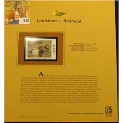 2003 Louisiana Waterfowl $5.50 Stamp, mint, unused with original literature mounted in a plastic pag