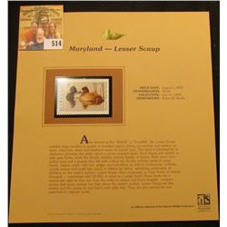 2003 Maryland Waterfowl $9.00 Stamp, mint, unused with original literature mounted in a plastic page