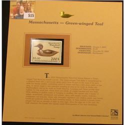 2003 Massachusetts Waterfowl $5.00 Stamp, mint, unused with original literature mounted in a plastic