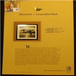 2003 Minnesota Waterfowl $5.00 Stamp, mint, unused with original literature mounted in a plastic pag