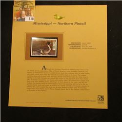 2003 Mississippi Waterfowl $10.00 Stamp, mint, unused with original literature mounted in a plastic