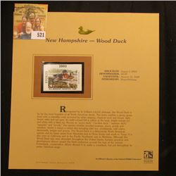2003 New Hampshire Waterfowl $4.00 Stamp, mint, unused with original literature mounted in a plastic