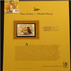 2003 New Jersey Waterfowl $5.00 Stamp, mint, unused with original literature mounted in a plastic pa