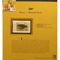 2003 Texas Waterfowl $3.00 Stamp, mint, unused with original literature mounted in a plastic page. D