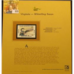 2003 Virginia Waterfowl $5.00 Stamp, mint, unused with original literature mounted in a plastic page