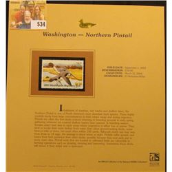 2003 Washington Waterfowl $10.00 Stamp, mint, unused with original literature mounted in a plastic p