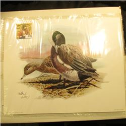 "1999 Fleetwood hand autographed print of a pair of Ducks (Widgeon???) by Don Balke, 10.5"" x 13.25""."