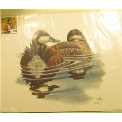 "1998 Fleetwood hand autographed print of a pair of Ruddy Ducks by Don Balke, 10.5"" x 13.25""."