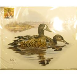 "2003 Fleetwood hand autographed print of a pair of Blue-winged Teal by Don Balke, 10.5"" x 13.25""."