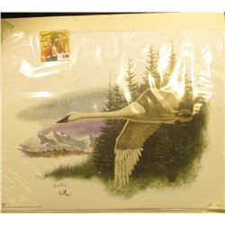 "2002 Fleetwood hand autographed print of a Trumpeter Swan by Don Balke, 10.5"" x 13.25""."