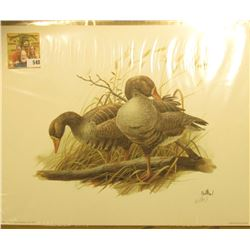 "1993 Fleetwood hand autographed print of a pair of Geese by Don Balke, 10.5"" x 13.25""."