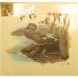 "1992 Fleetwood hand autographed print of a group of Ducks by Don Balke, 10.5"" x 13.25""."