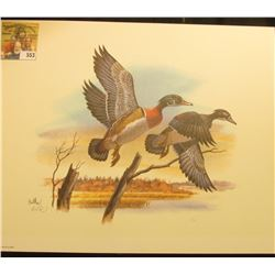 "1998 Fleetwood hand autographed print of a pair of Wood Ducks by Don Balke, 10.5"" x 13.25""."
