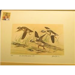 "1979 Iowa Duck Stamp Buffleheads by Andrew D. Peters, no. 111/750. 12.5"" x 16.5"", Hand autographed."