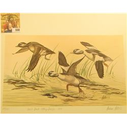 "1979 Iowa Duck Stamp Buffleheads by Andrew D. Peters, no. 614/750. 12.5"" x 16.5"", Hand autographed."