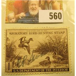 1942 RW9 Federal Migratory Bird Hunting $1 Stamp, signed and obviously used for hunting.