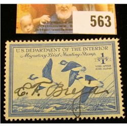 1948 RW15 Federal Migratory Bird Hunting $1 Stamp, signed and obviously used for hunting.