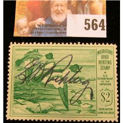 1949 RW16 Federal Migratory Bird Hunting $2 Stamp, signed and obviously used for hunting.