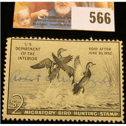 1951 RW18 Federal Migratory Bird Hunting $2 Stamp, signed and obviously used for hunting.