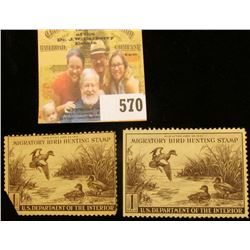 Pair of 1942 RW9 Federal Migratory Bird Hunting $1 Stamp, one folded and stuck corner, both unsigned