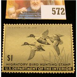 1945 RW12 Federal Migratory Bird Hunting $1 Stamp, unsigned, original gum, NH, VF.