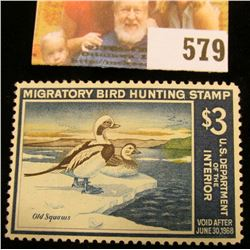 1967 RW34 Federal Migratory Bird Hunting $3 Stamp, unsigned, original gum, depicts a pair of Old Squ