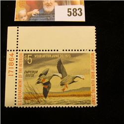 1972 RW39 Federal Migratory Bird Hunting $5 Stamp, unsigned, original gum, depicts a pair of Emperor